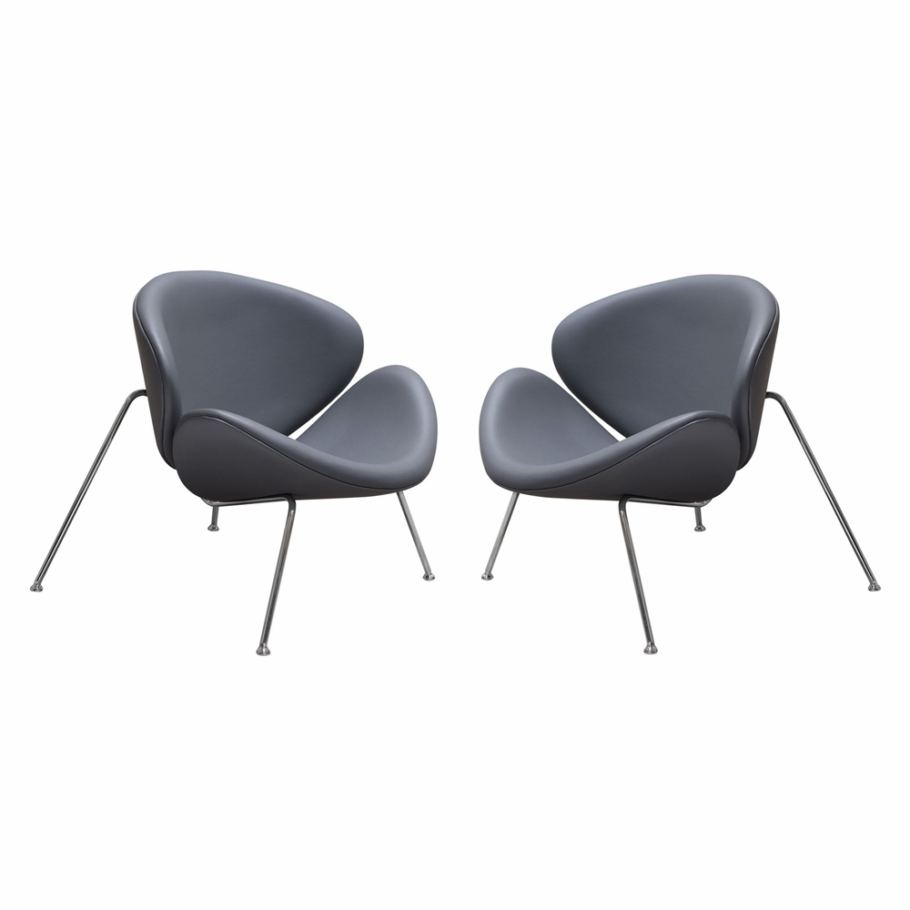 Outstanding Diamond Sofa Set Of 2 Roxy Accent Chair With Chrome Frame Grey Roxychgr2Pk Ibusinesslaw Wood Chair Design Ideas Ibusinesslaworg