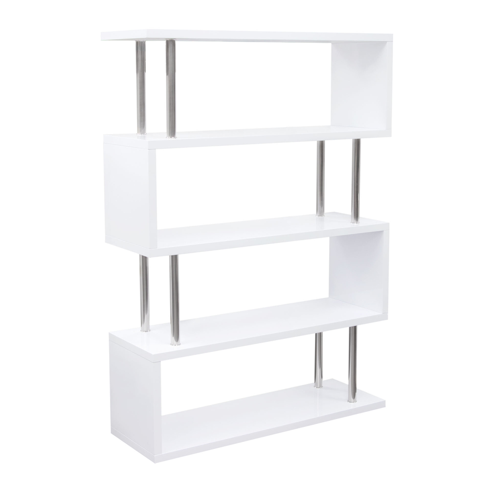 Large Shelving Unit In White Lacquer With Metal Supports X2shwh Hover To Zoom