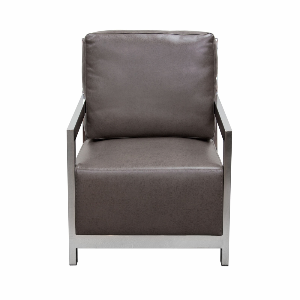Surprising Diamond Sofa Zen Accent Chair With Stainless Steel Frame Elephant Grey Zenchgr Alphanode Cool Chair Designs And Ideas Alphanodeonline