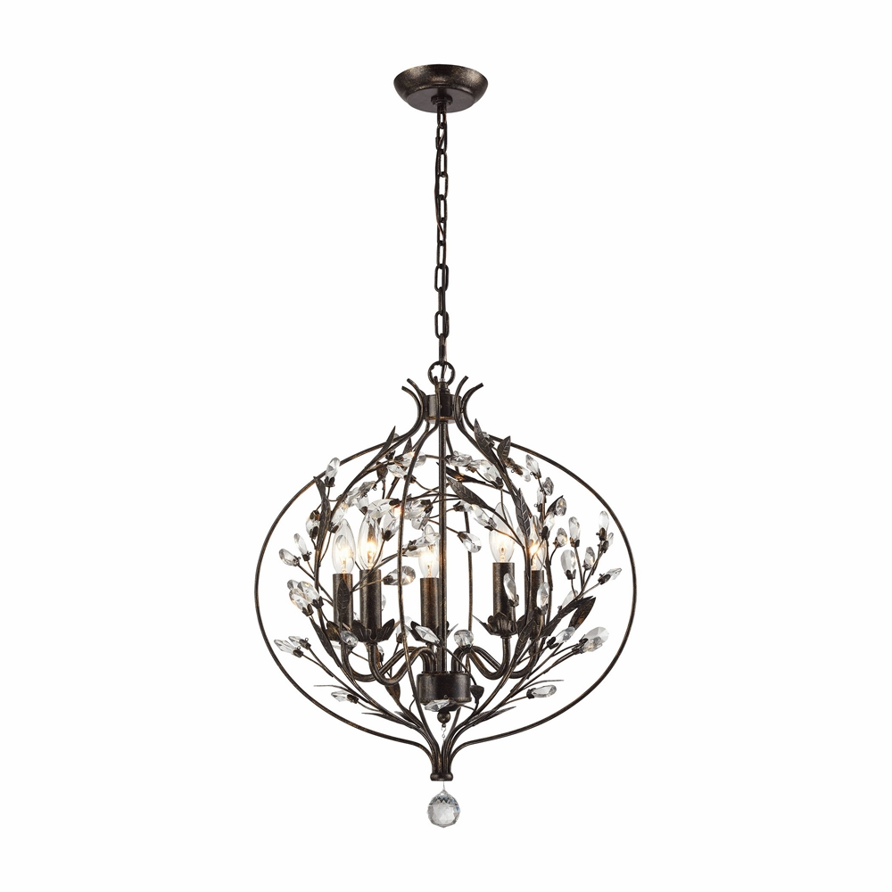 Elk Lighting Circeo 5 Light Chandelier In Deep Rust 18136