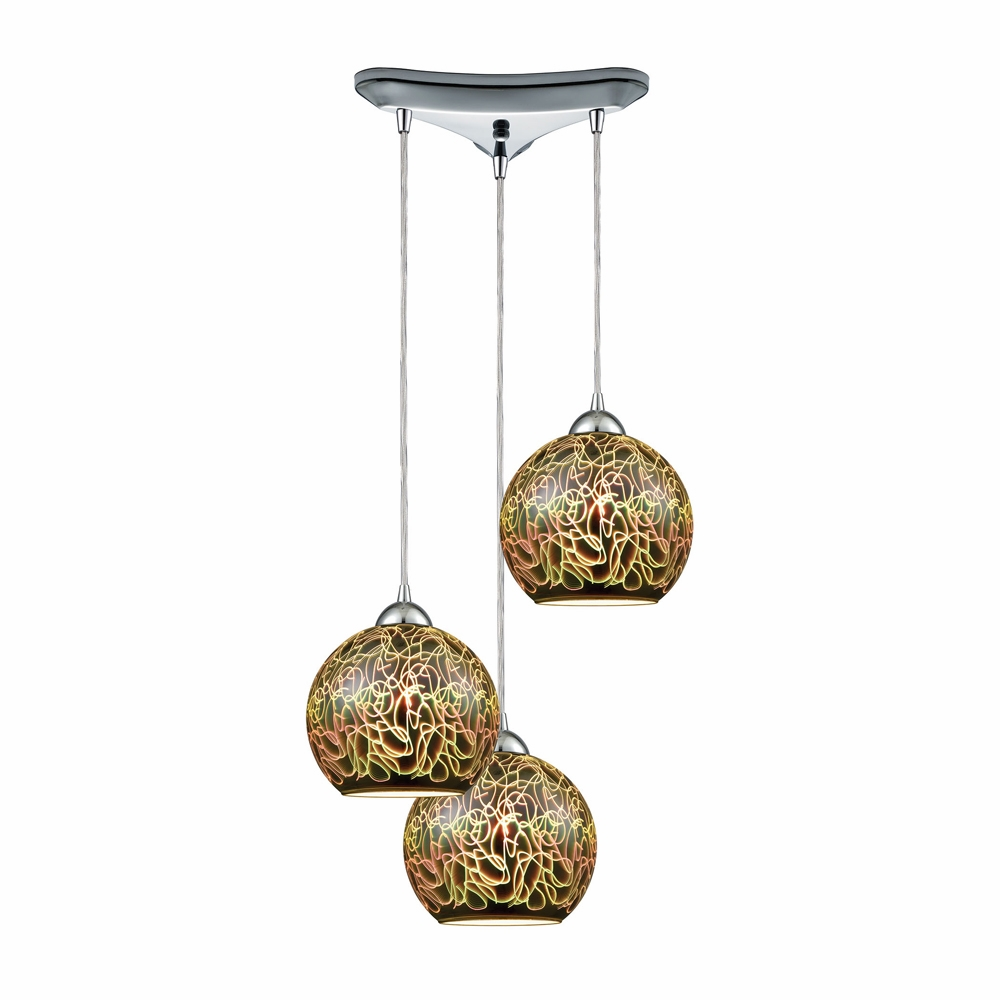 Elk Lighting Illusions 3 Light Triangle Pan Fixture In Polished Chrome With D Graffiti Gl 10518