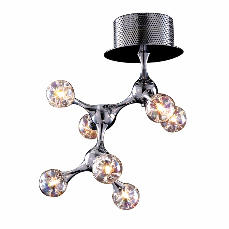 ELK Lighting - Molecular 7 Light Flushmount In Chrome And Iridescent Glass - 30014/7