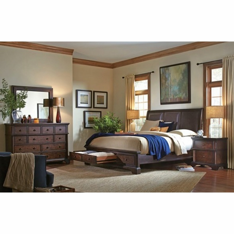 Emery Park - Brentwood 4 Piece King Leather Sleigh Storage Bedroom Set - I08-425_406_407D_450_455_464