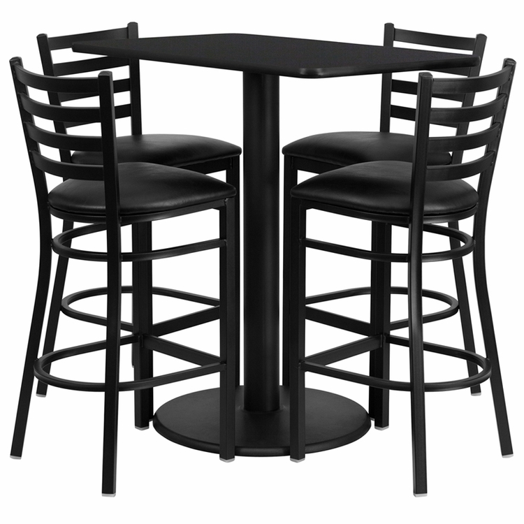 Flash Furniture - 24'' X 42'' Rectangular Black Laminate Table Set With 4 Ladder Back Metal Bar Stools - Black Vinyl Seat - RSRB1017-GG