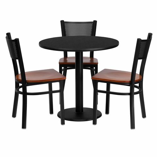 Flash Furniture - 30'' Round Black Laminate Table Set With Grid Back Metal Chair And Cherry Wood Seat, Seats 3 - REST-0007-CYW-BK-FS-TDR