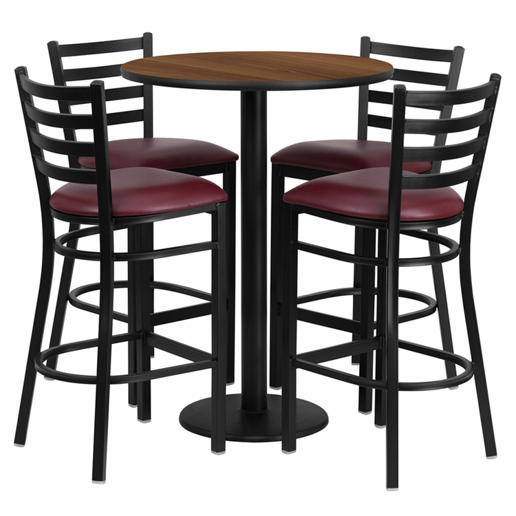 Flash Furniture - 30'' Round Walnut Laminate Table Set With 4 Ladder Back Metal Bar Stools - Burgundy Vinyl Seat - RSRB1028-GG