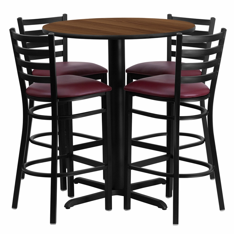 Flash Furniture - 30'' Round Walnut Laminate Table Set With Ladder Back Metal Bar Stool And Burgundy Vinyl Seat, Seats 4 - REST-007-BG-WAL-FS-TDR