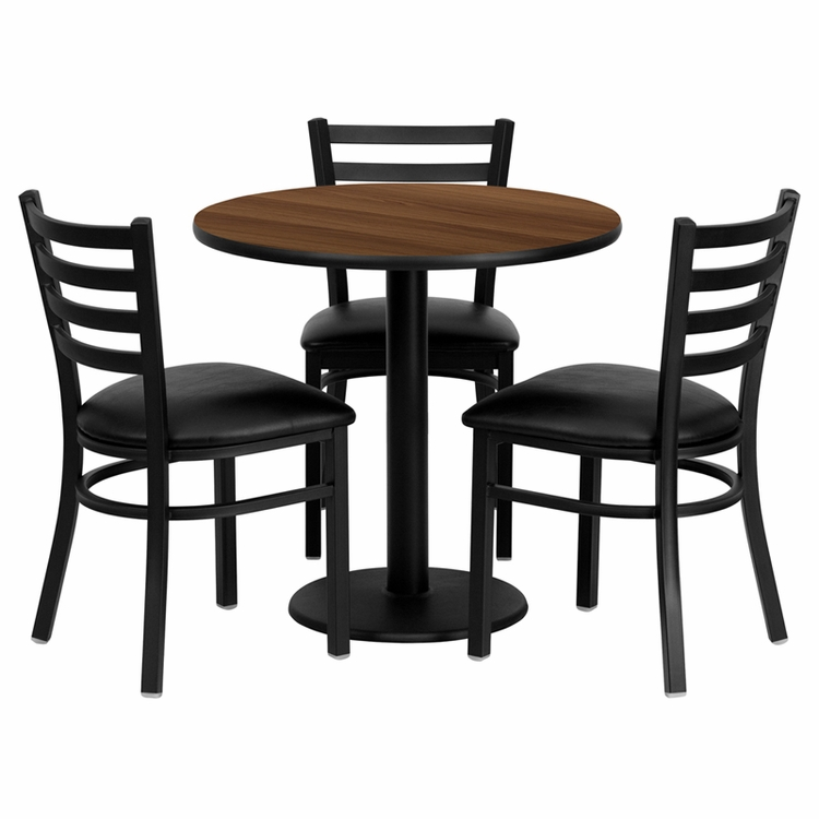 Flash Furniture - 30'' Round Walnut Laminate Table Set With Ladder Back Metal Chair And Black Vinyl Seat, Seats 3 - REST-0002-BK-WAL-FS-TDR