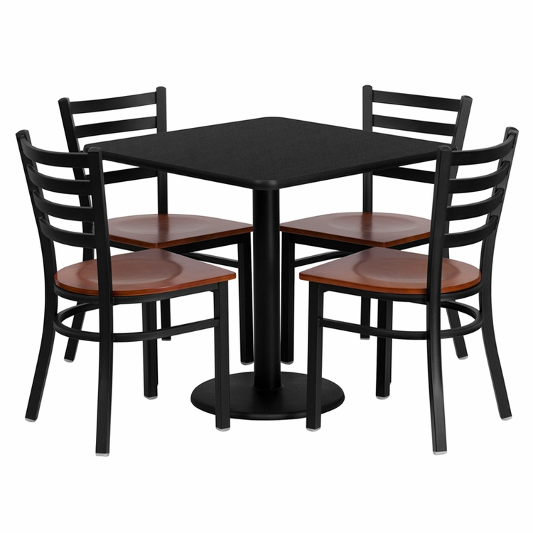 Flash Furniture - 30'' Square Black Laminate Table Set With Ladder Back Metal Chair And Cherry Wood Seat, Seats 4 - REST-0003-CYW-BK-FS-TDR