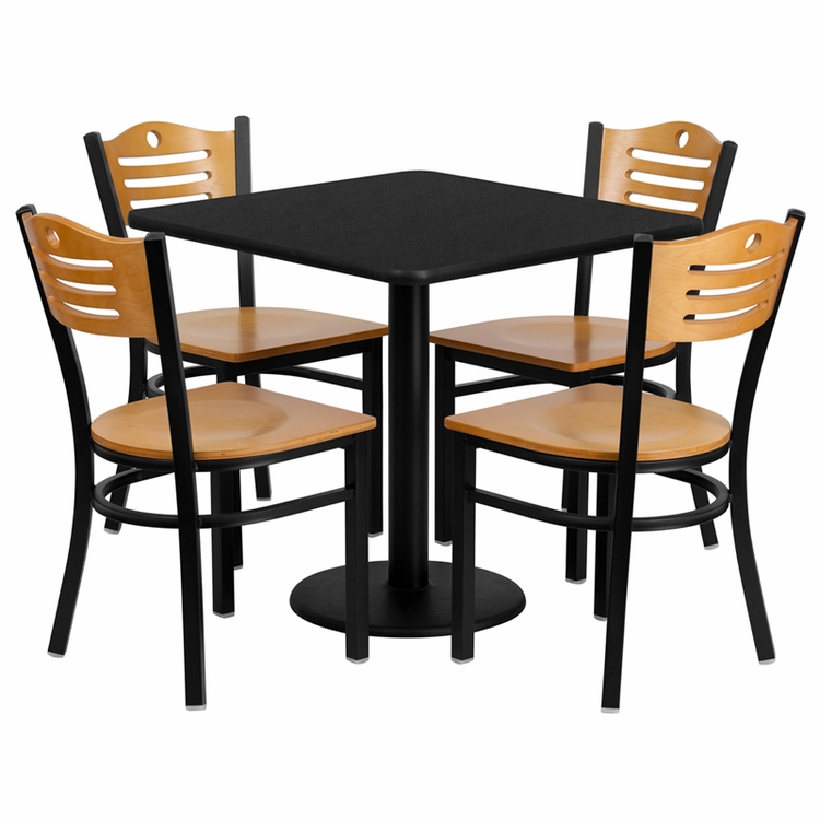 Flash Furniture - 30'' Square Black Laminate Table Set With Wood Slat Back Metal Chair And Natural Wood Seat, Seats 4 - REST-0010-NW-BK-FS-TDR