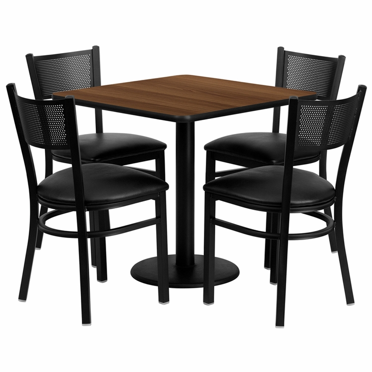 Flash Furniture - 30'' Square Walnut Laminate Table Set With Grid Back Metal Chair And Black Vinyl Seat, Seats 4 - REST-0005-BK-WAL-FS-TDR