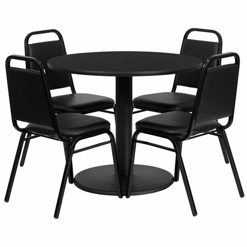 Flash Furniture - 36'' Round Black Laminate Table Set With 4 Black Trapezoidal Back Banquet Chairs - RSRB1001-GG