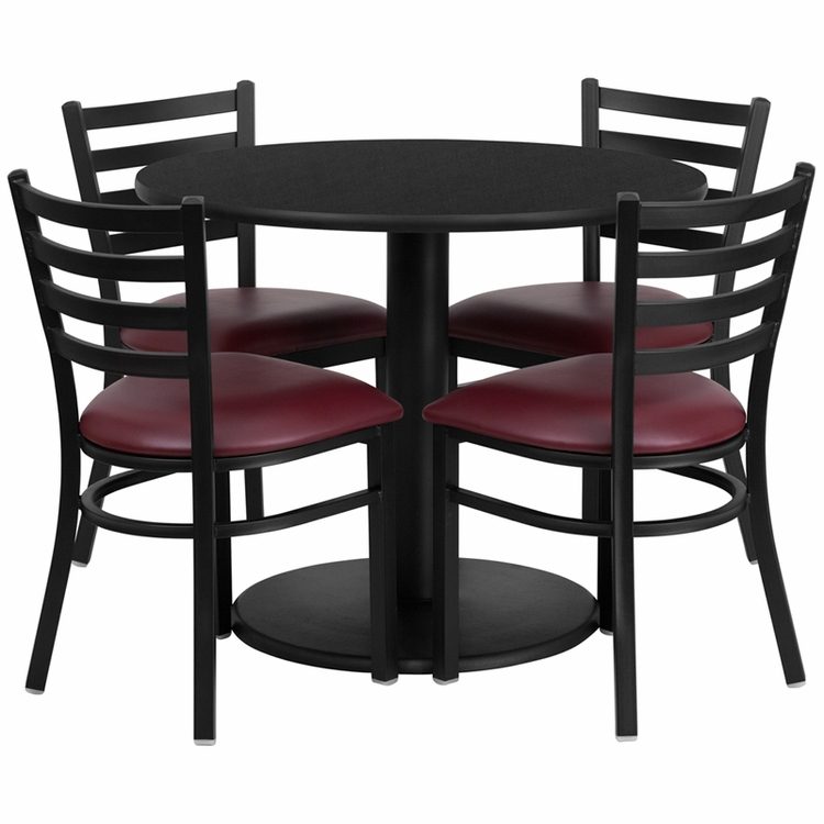 Flash Furniture - 36'' Round Black Laminate Table Set With 4 Ladder Back Metal Chairs - Burgundy Vinyl Seat - RSRB1005-GG