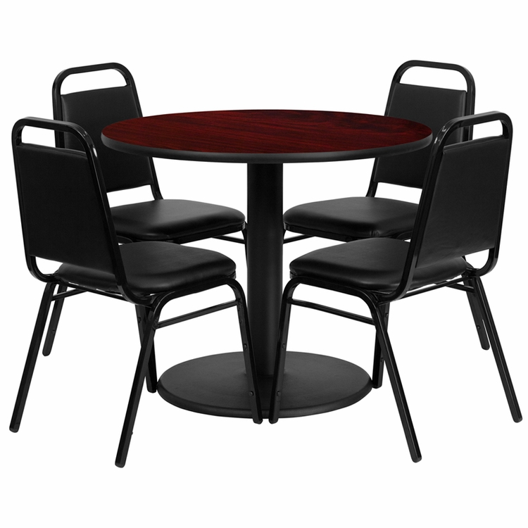 Flash Furniture - 36'' Round Mahogany Laminate Table Set With 4 Black Trapezoidal Back Banquet Chairs - RSRB1002-GG