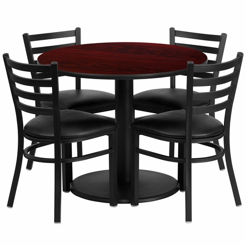 Flash Furniture - 36'' Round Mahogany Laminate Table Set With 4 Ladder Back Metal Chairs - Black Vinyl Seat - RSRB1030-GG