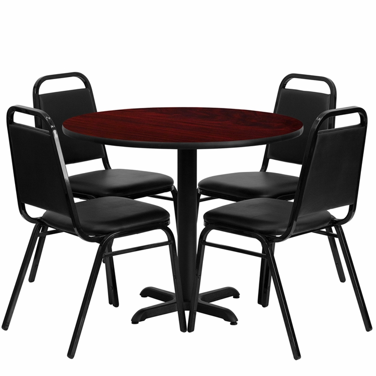 Flash Furniture - 36'' Round Mahogany Laminate Table Set With Black Trapezoidal Back Banquet Chairs, Seats 4 - REST-001-BK-MAH-FS-TDR