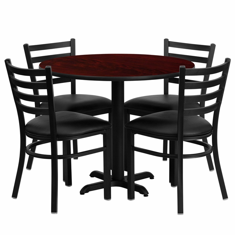 Flash Furniture - 36'' Round Mahogany Laminate Table Set With Ladder Back Metal Chair And Black Vinyl Seat, Seats 4 - REST-008-BK-MAH-FS-TDR