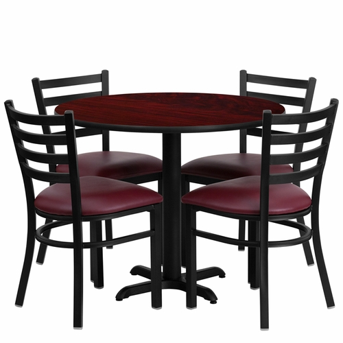 Flash Furniture - 36'' Round Mahogany Laminate Table Set With Ladder Back Metal Chair And Burgundy Vinyl Seat, Seats 4 - REST-002-BG-MAH-FS-TDR