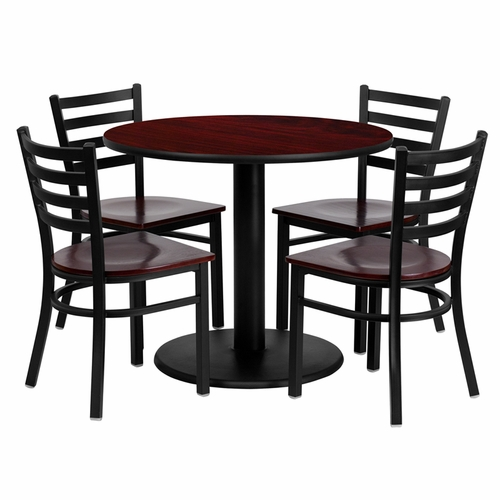 Flash Furniture - 36'' Round Mahogany Laminate Table Set With Ladder Back Metal Chair And Mahogany Wood Seat, Seats 4 - REST-0004-MHW-MAH-FS-TDR
