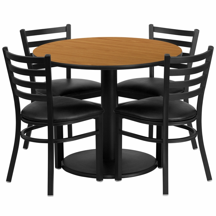 Flash Furniture - 36'' Round Natural Laminate Table Set With 4 Ladder Back Metal Chairs - Black Vinyl Seat - RSRB1031-GG