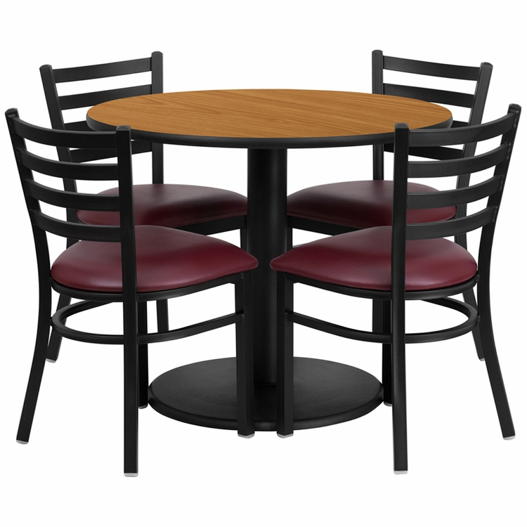Flash Furniture - 36'' Round Natural Laminate Table Set With 4 Ladder Back Metal Chairs - Burgundy Vinyl Seat - RSRB1007-GG