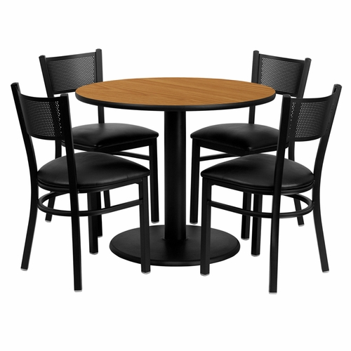 Flash Furniture - 36'' Round Natural Laminate Table Set With Grid Back Metal Chair And Black Vinyl Seat, Seats 4 - REST-0006-BK-NAT-FS-TDR