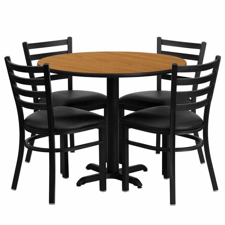 Flash Furniture - 36'' Round Natural Laminate Table Set With Ladder Back Metal Chair And Black Vinyl Seat, Seats 4 - REST-008-BK-NAT-FS-TDR