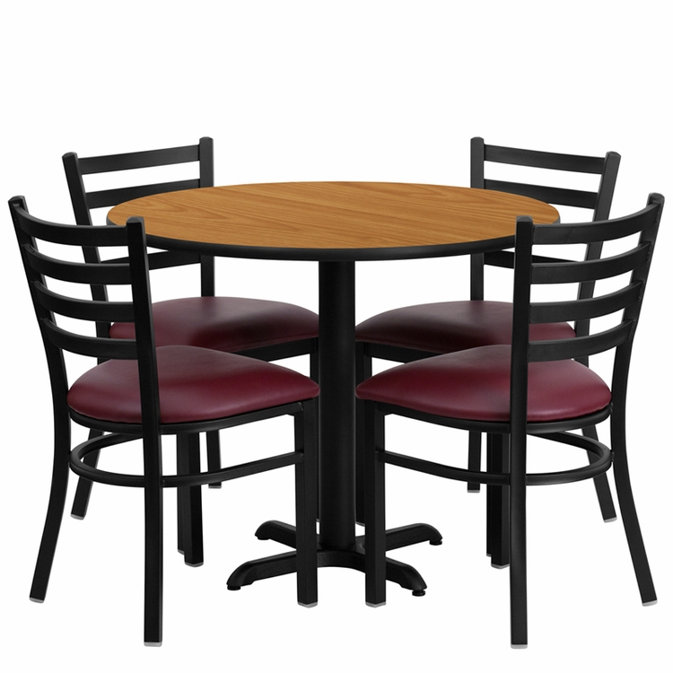 Flash Furniture - 36'' Round Natural Laminate Table Set With Ladder Back Metal Chair And Burgundy Vinyl Seat, Seats 4 - REST-002-BG-NAT-FS-TDR