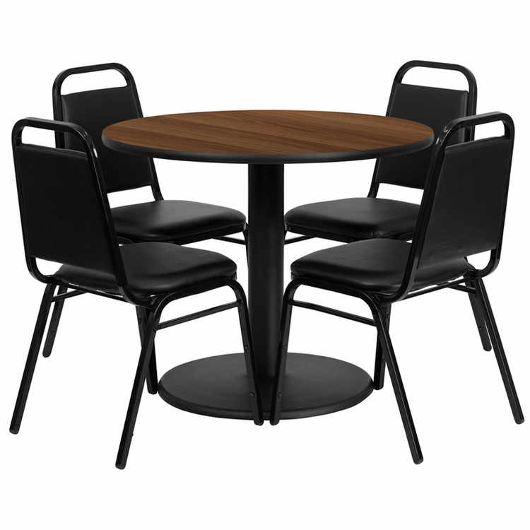 Flash Furniture - 36'' Round Walnut Laminate Table Set With 4 Black Trapezoidal Back Banquet Chairs - RSRB1004-GG