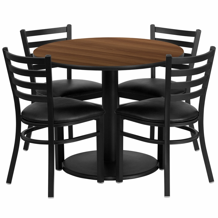 Flash Furniture - 36'' Round Walnut Laminate Table Set With 4 Ladder Back Metal Chairs - Black Vinyl Seat - RSRB1032-GG