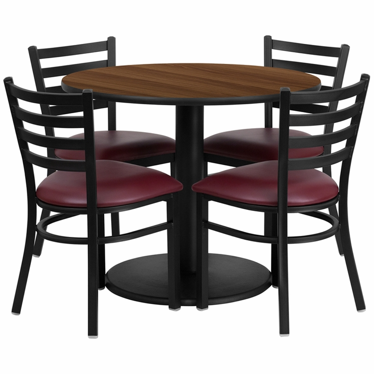 Flash Furniture - 36'' Round Walnut Laminate Table Set With 4 Ladder Back Metal Chairs - Burgundy Vinyl Seat - RSRB1008-GG