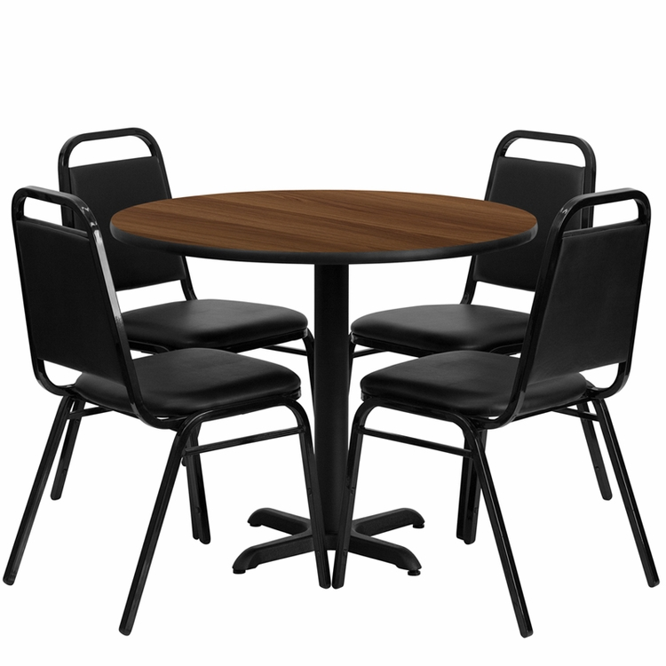 Flash Furniture - 36'' Round Walnut Laminate Table Set With Black Trapezoidal Back Banquet Chairs, Seats 4 - REST-001-BK-WAL-FS-TDR