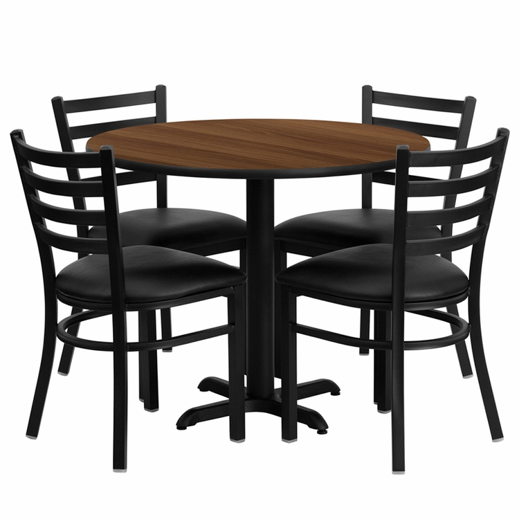 Flash Furniture - 36'' Round Walnut Laminate Table Set With Ladder Back Metal Chair And Black Vinyl Seat, Seats 4 - REST-008-BK-WAL-FS-TDR