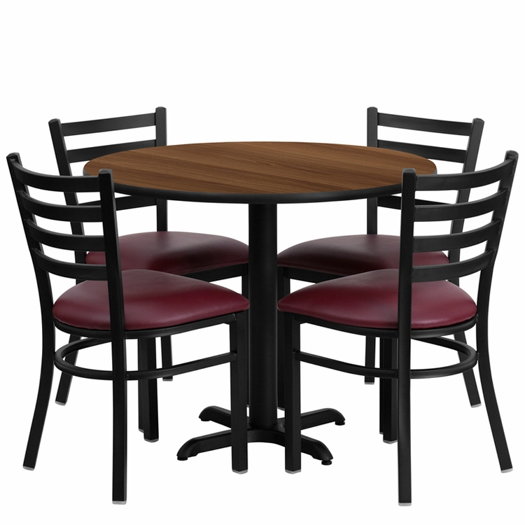Flash Furniture - 36'' Round Walnut Laminate Table Set With Ladder Back Metal Chair And Burgundy Vinyl Seat, Seats 4 - REST-002-BG-WAL-FS-TDR
