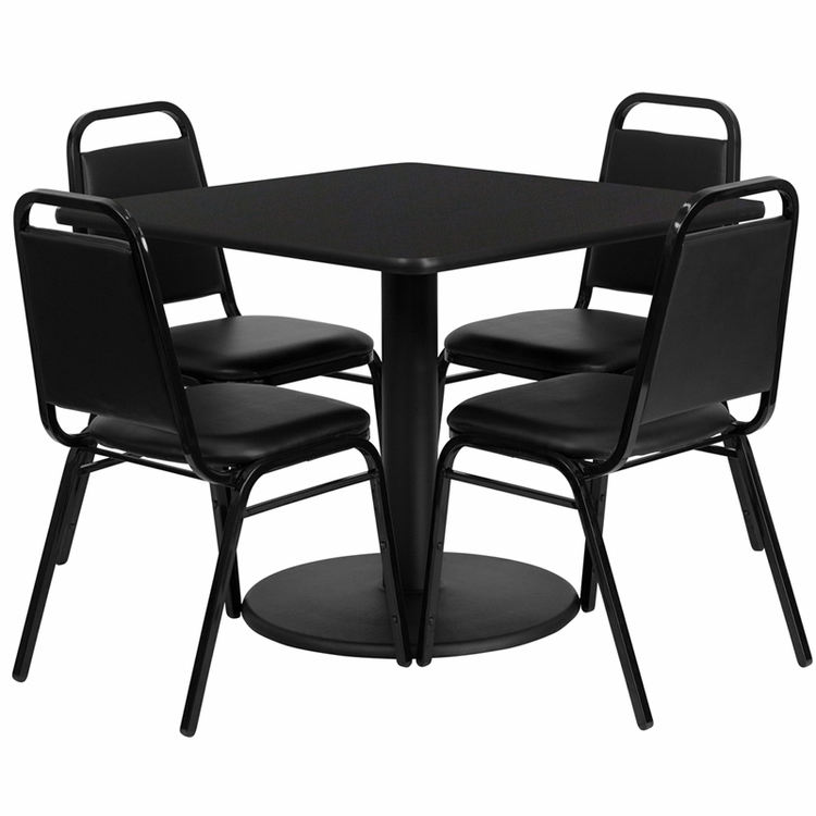 Flash Furniture - 36'' Square Black Laminate Table Set With 4 Black Trapezoidal Back Banquet Chairs - RSRB1009-GG