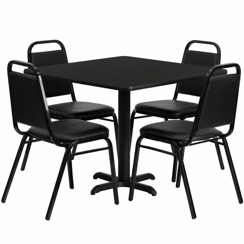Flash Furniture - 36'' Square Black Laminate Table Set With Black Trapezoidal Back Banquet Chairs, Seats 4 - REST-003-BK-BK-FS-TDR