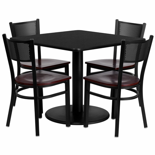 Flash Furniture - 36'' Square Black Laminate Table Set With Grid Back Metal Chair And Mahogany Wood Seat, Seats 4 - REST-0008-MHW-BK-FS-TDR