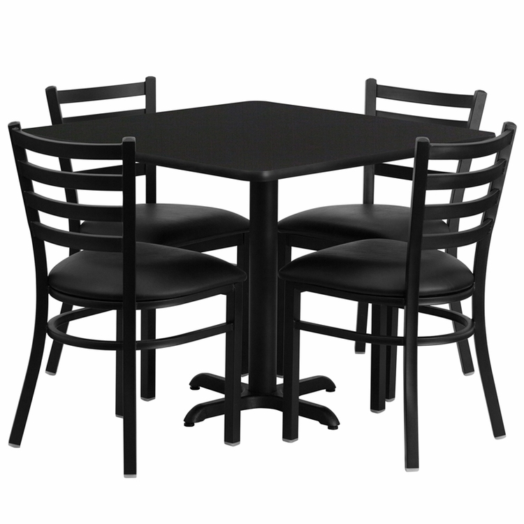 Flash Furniture - 36'' Square Black Laminate Table Set With Ladder Back Metal Chair And Black Vinyl Seat, Seats 4 - REST-004-BK-BK-FS-TDR
