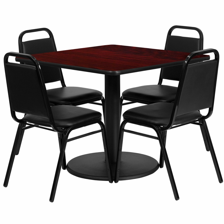 Flash Furniture - 36'' Square Mahogany Laminate Table Set With 4 Black Trapezoidal Back Banquet Chairs - RSRB1010-GG