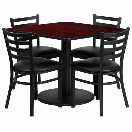 Flash Furniture - 36'' Square Mahogany Laminate Table Set With 4 Ladder Back Metal Chairs - Black Vinyl Seat - RSRB1014-GG