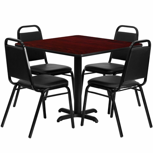 Flash Furniture - 36'' Square Mahogany Laminate Table Set With Black Trapezoidal Back Banquet Chairs, Seats 4 - REST-003-BK-MAH-FS-TDR