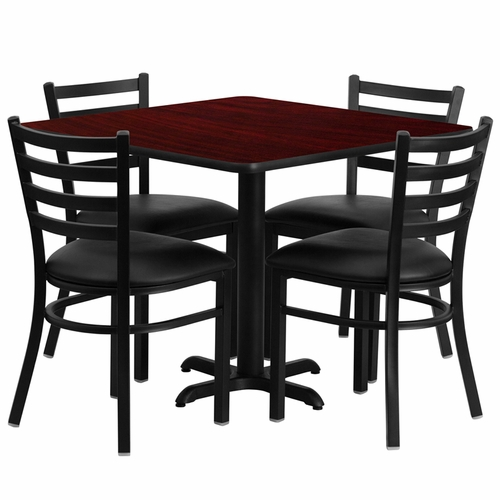 Flash Furniture - 36'' Square Mahogany Laminate Table Set With Ladder Back Metal Chair And Black Vinyl Seat, Seats 4 - REST-004-BK-MAH-FS-TDR