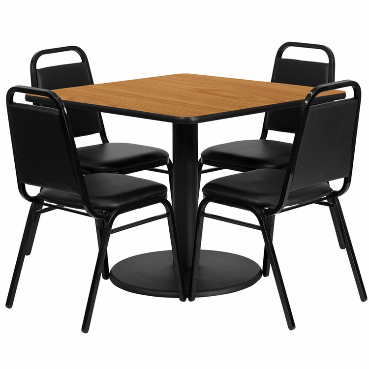 Flash Furniture - 36'' Square Natural Laminate Table Set With 4 Black Trapezoidal Back Banquet Chairs - RSRB1011-GG