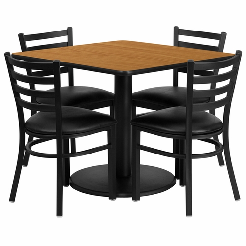 Flash Furniture - 36'' Square Natural Laminate Table Set With 4 Ladder Back Metal Chairs - Black Vinyl Seat - RSRB1015-GG