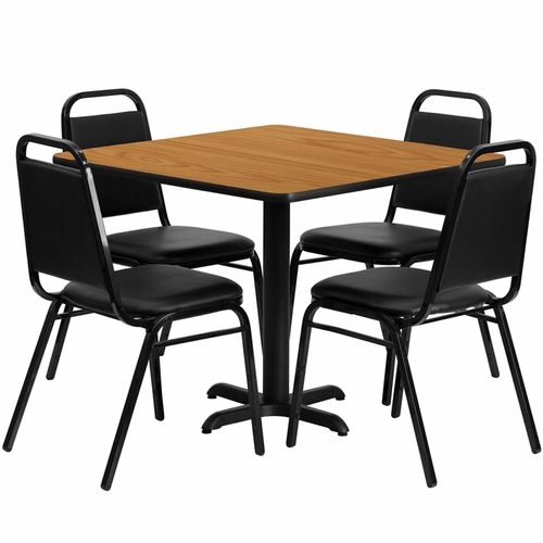 Flash Furniture - 36'' Square Natural Laminate Table Set With Black Trapezoidal Back Banquet Chairs, Seats 4 - REST-003-BK-NAT-FS-TDR