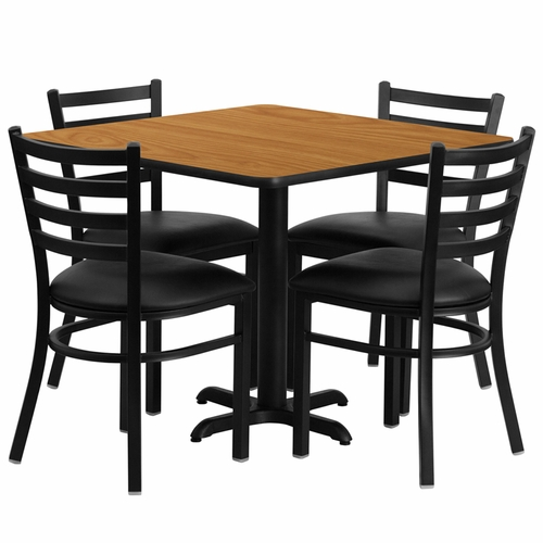Flash Furniture - 36'' Square Natural Laminate Table Set With Ladder Back Metal Chair And Black Vinyl Seat, Seats 4 - REST-004-BK-NAT-FS-TDR