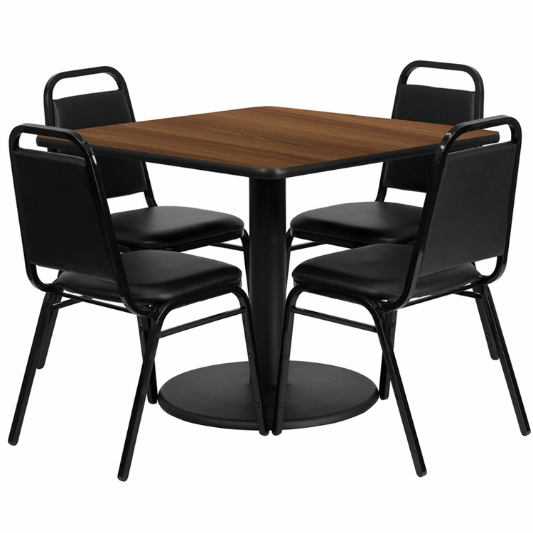 Flash Furniture - 36'' Square Walnut Laminate Table Set With 4 Black Trapezoidal Back Banquet Chairs - RSRB1012-GG