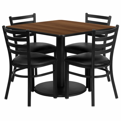 Flash Furniture - 36'' Square Walnut Laminate Table Set With 4 Ladder Back Metal Chairs - Black Vinyl Seat - RSRB1016-GG