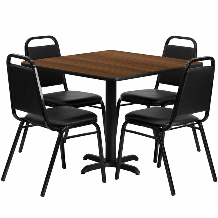 Flash Furniture - 36'' Square Walnut Laminate Table Set With Black Trapezoidal Back Banquet Chairs, Seats 4 - REST-003-BK-WAL-FS-TDR
