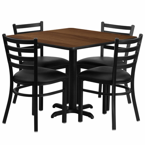 Flash Furniture - 36'' Square Walnut Laminate Table Set With Ladder Back Metal Chair And Black Vinyl Seat, Seats 4 - REST-004-BK-WAL-FS-TDR